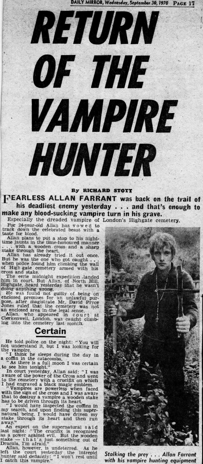 Return of The Vampire Hunter news report 1970