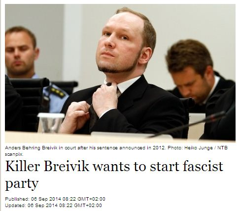 Anders Breivik launches Norweigan Nazi Party