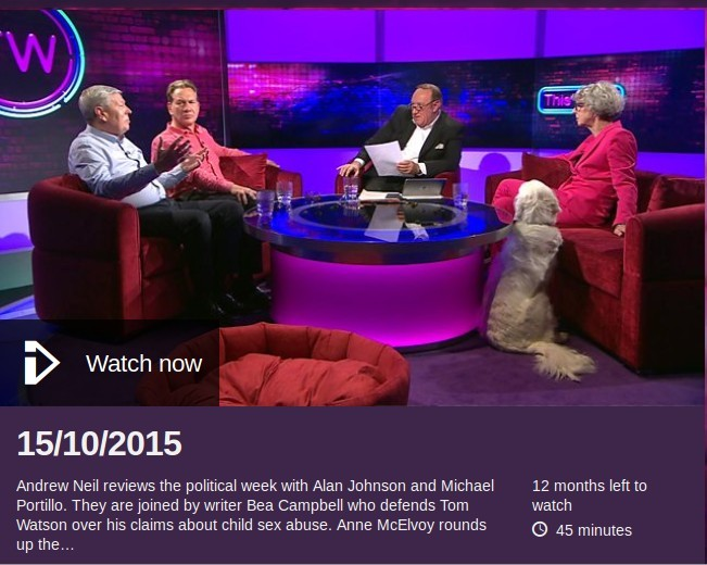 Beatrix Campbell, Michael Portillo on Andrew Neill show This Week