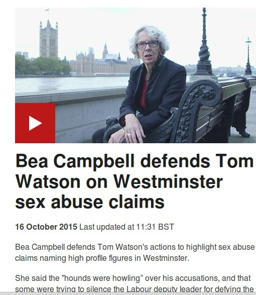 Beatrix Campbell defends Tom Watson on BBC News, The hounds are howling.
