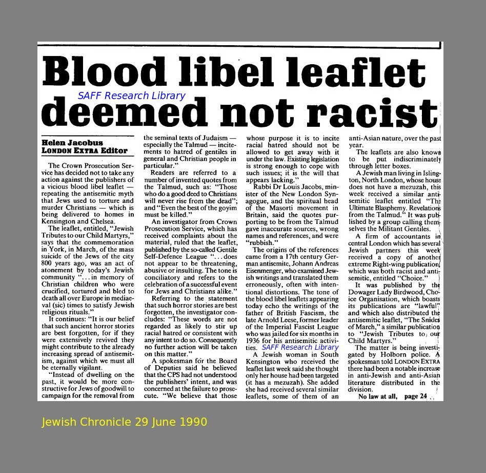 Blood Libels against Jews in 1990