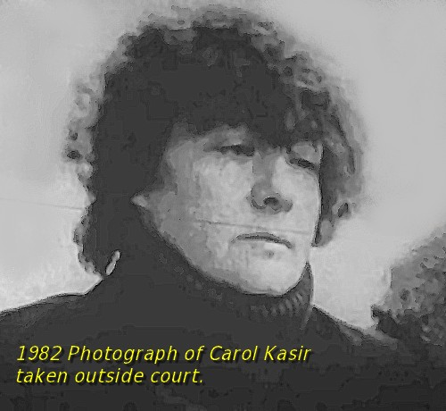 photograph of carol kasir taken outside court 1982