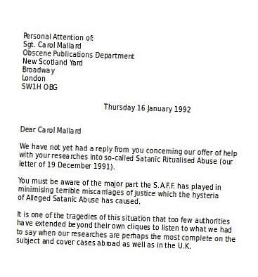 Letter from SAFF to Carol Mallard