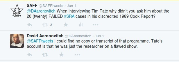 Aaronovitch stating Tim Tate had minimised his involvement in the Cook Report