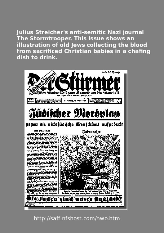 Der Sturmer cartoon of Jews sacrificing a Christian Baby
