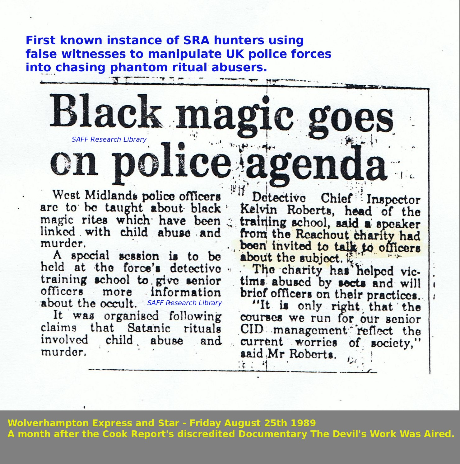 First example of Reachout Trust training stupid policemen in hunting down phantoms of Satanic Abuse