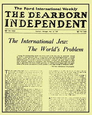 The front Page from Henry Ford's anti-Semitic Dearborne Independent