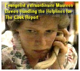 Maureen Davies managing the helplines after the Cook Report broadcast The Devil's Work