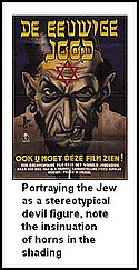 Poster portraying the jew as a stereotypical devil / satan figure