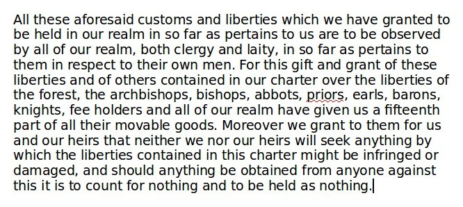 Extract from Magna Carta