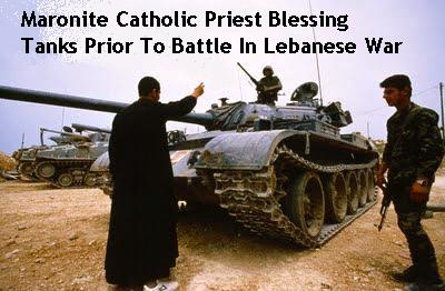 Maronite Catholic Priest Blesses Tanks Prior to Battle in the Lebanese War
