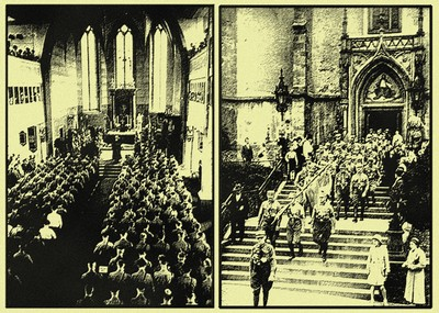 Hitlers S.A. or 'Brownshirts' the forerunner of the S.S. attending church en-masse