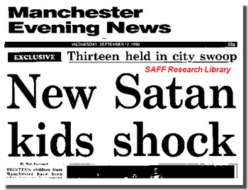 Manchester Evening News 12 Sept 1990 New Satan Kids Shcok