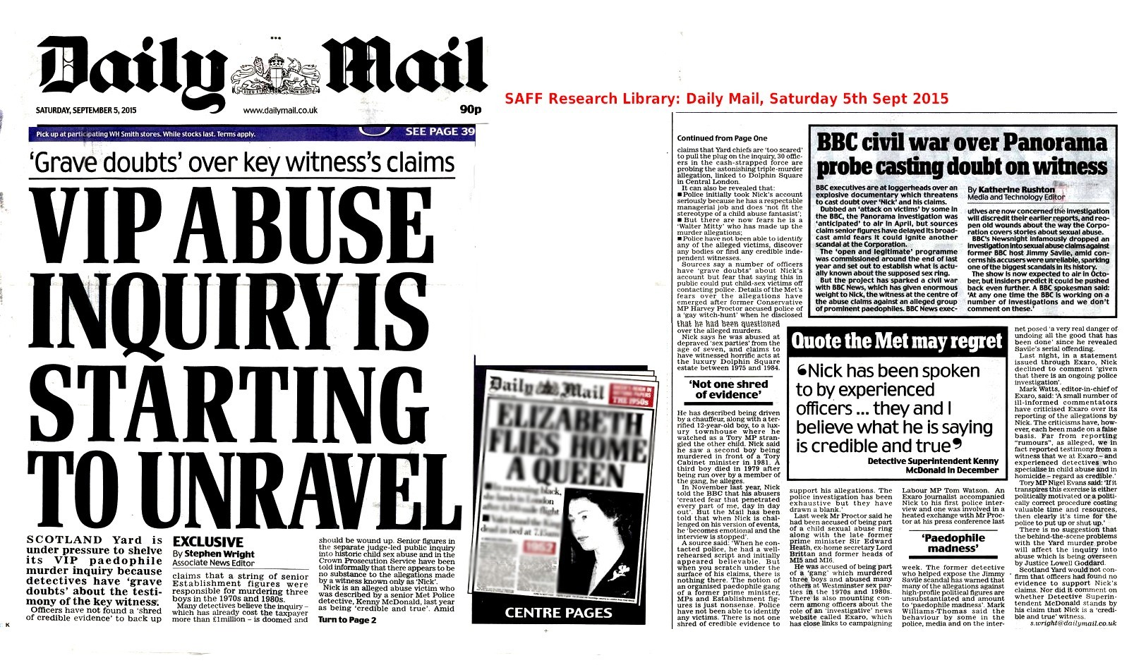 Police report no evidence to substantiate 'Nick's' Westminster Paedo allegations: Daily Mail
