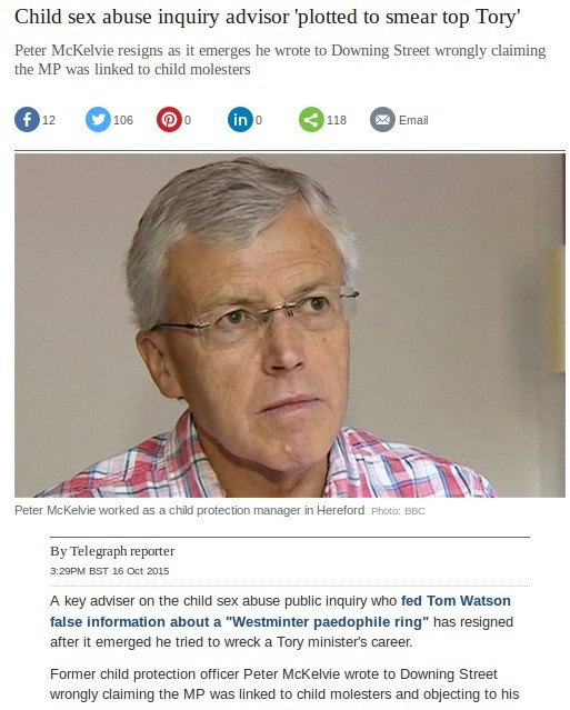 Peter McKenzie fed false information to Tom Watson MP over Westminster VIP paedo Ring Myth