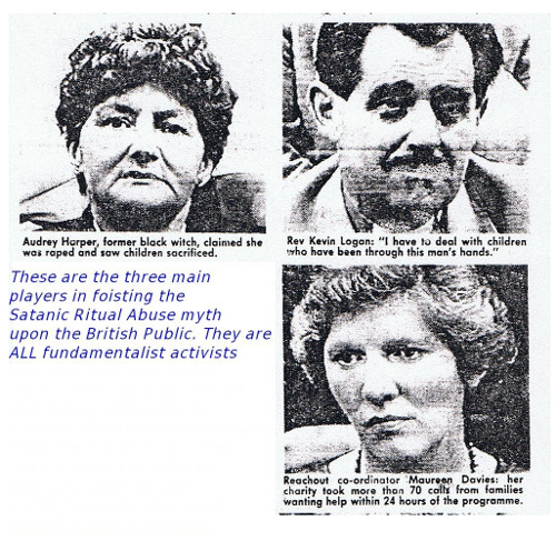 Reachout Trust directors, Audrey Harper, Kevin Logan, Maureen Davies at the height of the Satanic Ritual Abuse myth