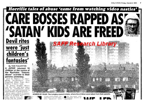 Daily Star 8 March 1991 Satan Kids are freed