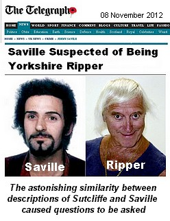 Jimmy Saville and his doppleganger Peter, The Ripper, Sutcliffe