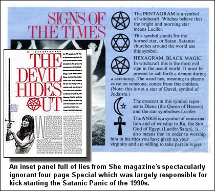 She Magazine's The Devil Hides Out four page special unveiling lies about   Satanic Ritual Child Abuse to the British Public