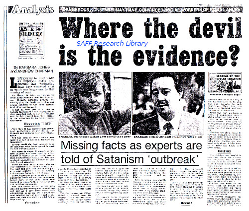 Where the Devil is The evidence?  Mail on Sunday begins to question the SRA allegations